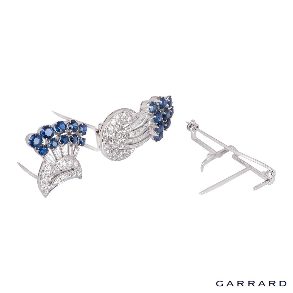 Garrard Diamond and Sapphire Brooch Circa 1950